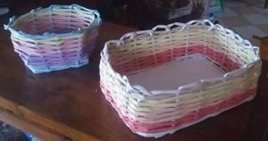 papírfonással készített kosarak