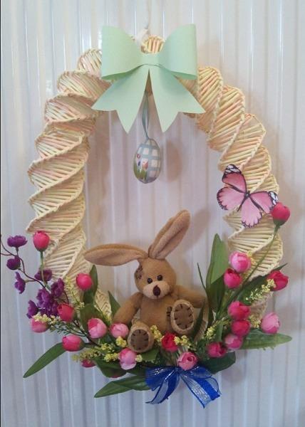 húsvéti ajtódísz nyuszival