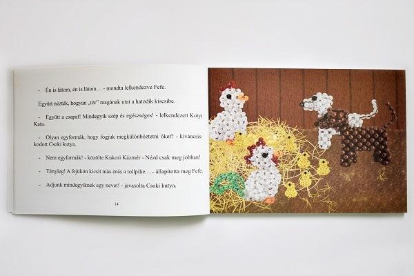 Gyöngycsibék és barátaik mesekönyv nyitva