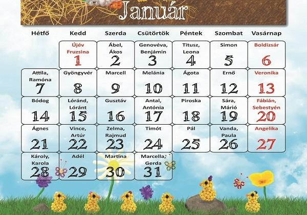 2019 naptár januar reszlet